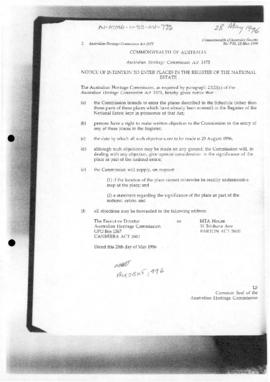 Commonwealth of Australia Gazette,  Australian Heritage Commission Act 1975, Register of the National Estate
