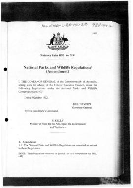 National Parks and Wildlife Regulations (Amendment)