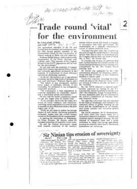 "Press article ""Trade round vital for the environment"" Australian Financial Review"