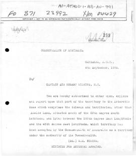Australia, Department of External Affairs correspondence with Sir Hubert Wilkins concerning exploration of the Australian Antarctic Territory
