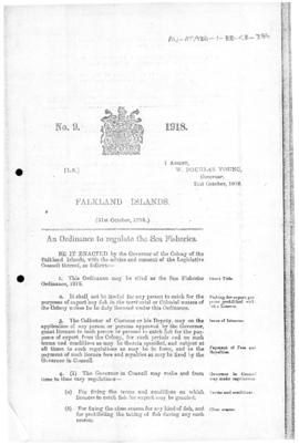 Falkland Islands, Sea Fisheries Ordinance, no 9 of 1918
