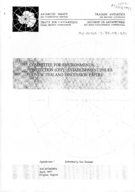 "Twenty-first Antarctic Treaty Consultative Meeting (Christchurch) Working paper 2 ""Committee..."