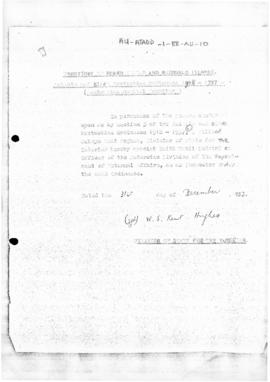 Australia, Appointment of an inspector under the Animals and Birds Protection Ordinance 1918-1937...