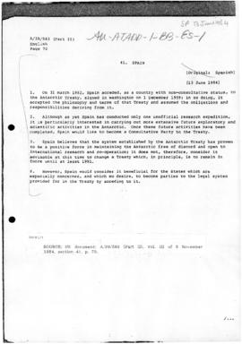 Spain and Antarctica, United Nations General Assembly, document A/39/583(Part II)