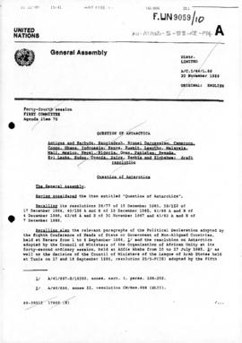 "United Nations General Assembly, Forty-fourth Session, First Committee ""Question of Antarcti..."