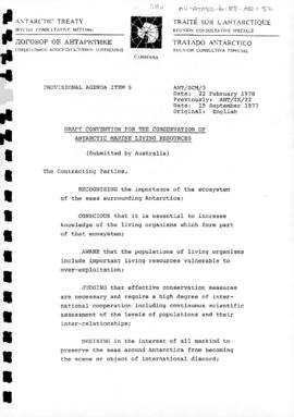 Second Special Antarctic Treaty Consultative Meeting, First Session (Canberra), Working paper 3 &...