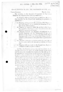 British accession to General Act for the Pacific settlement of international disputes