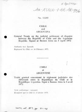 General treaty on the judicial settlement of disputes between the Republic of Chile and the Argentine Republic, Buenos Aires 1972