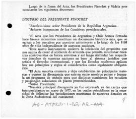 Argentina and Chile, Speeches by President Pinochet and President Videla on signing the Agreed Minute of Puerto Montt