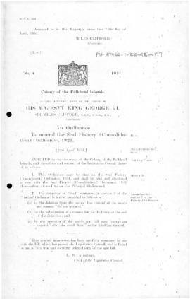 Falkland Islands, Seal Fishery (Amendment) Ordinance, no 4 of 1951