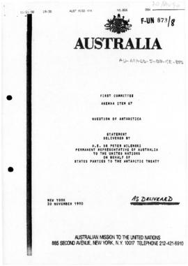 "Australian Mission to the United Nations, First Committee, Agenda Item 67 ""Question of Antar..."