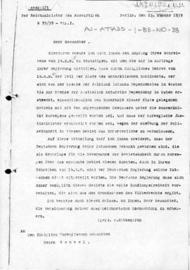 German note to Norway reserving the position of the German Government with regard to the Norwegia...