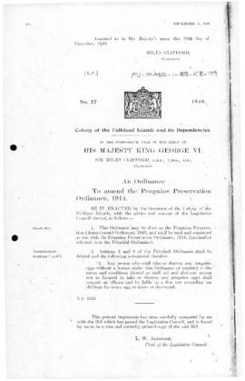 Falkland Islands Dependencies, Penguins Preservation Ordinance, no 27 of 1949