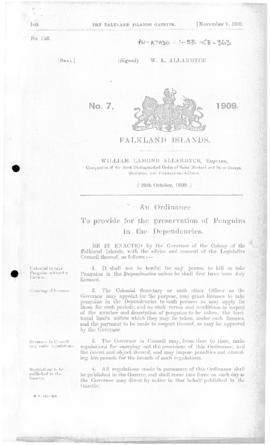 Falkland Islands, Penguin Preservation (Dependencies) Ordinance, no 7 of 1909