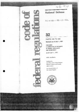 "United States ""Code of Federal Regulations"", including Office of the Secretary of Defense, Part 197, Environmental Effects Abroad of Major Department of Defense Actions"