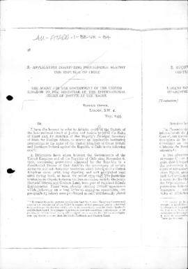 British application instituting proceedings against the Republic of Chile before the Internationa...