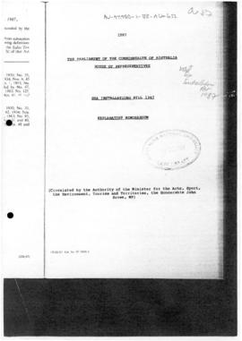 Australia, House of Representatives, Sea Installations Bill 1987, Explanatory Memorandum
