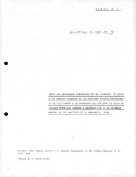Chilean memorandum opposing the Indian proposal that the United Nations consider Antarctica