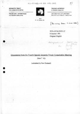 "Fourth Special Antarctic Treaty Consultative Meeting, Twelfth session, Wellington, ""Documents from the Fourth Special Antarctic Treaty Consultative Meeting"" (XVI ATCM/INFO 27 - a re-issue of  IV SATCM INFO/04/Add.2) (New Zealand)"