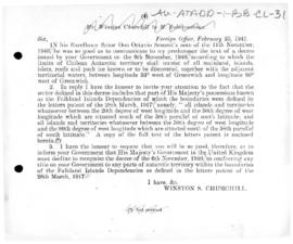 British note to Chile pointing out that the Chilean claim included part of the Falkland (Malvinas...