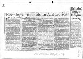 "Kelton, Greg ""Keeping a foothold in Antarctica"" The Courier Mail"