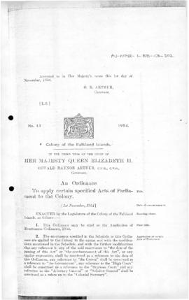 Falkland Islands, Application of Enactments Ordinance, no 13 of 1954