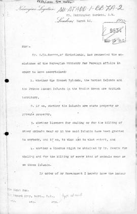 Norwegian note to the United Kingdom concerning British claims to Crozet, Prince Edward and Marion Islands, and UK reply of 16 April 1910