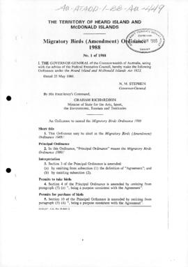 Territory of Heard Island and McDonald Islands, Migratory birds (Amendment) Ordinance 1988