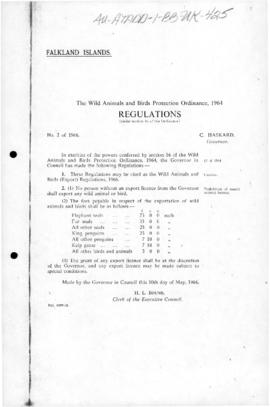 United Kingdom, Falkland Islands, Wild Animals and Birds Protection (Sanctuaries) Orders no 2 and No 3, 1966