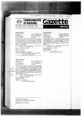 Commonwealth of Australia Gazette, Proclamation of date of amendments to the Antarctic Treaty (Environmental Protection) Act 1980