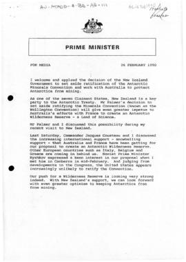 "Australia, Prime Minister Bob Hawke, ""For media""; and ""Transcript of interview wit..."