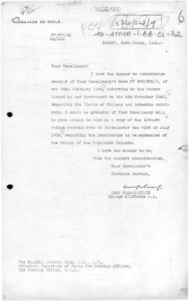 Chilean note to the United Kingdom requesting a copy of the letters patent of 21 July 1908
