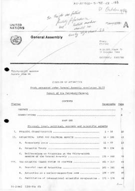 "United Nations General Assembly, Thirty-Ninth Session, Question of Antarctica, Study requested under General Assembly resolution 38/77 ""Report of the Secretary-General"" (A/39/583 Part I). Includes corrigenda, views of States and Resolutions."