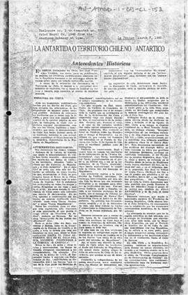 "Chilean account on the basis for its claim ""La Antartida o territorio Chileno Antartico - Antecedentes históricos"" [Antarctic Chilean territory - Historical background] La Prensa"