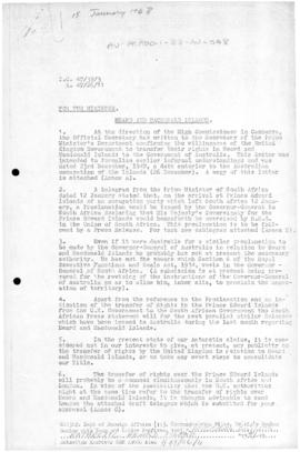 Memorandum concerning transfer of Heard Island from Great Britain to Australia