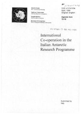 "Twenty-second Antarctic Treaty Consultative Meeting (Tromsø) Information paper 36 ""International co-operation in the Italian Antarctic Research Programme"" (XXII ATCM/IP36) (Italy)"