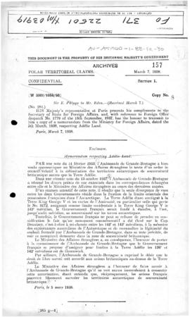 French memorandum notifying the United Kingdom of its intention to assign 136°E and 142°E longitu...