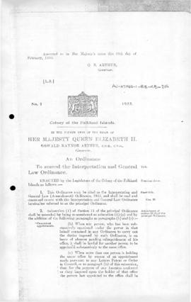 Falkland Islands, Interpretation and General Law (Amendment) Ordinance, no 1 of 1955