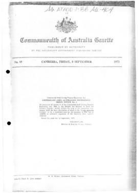 Commonwealth of Australia Gazette, South Australian Division of the Australian continental shelf (Living Natural Resources) Act 1968.