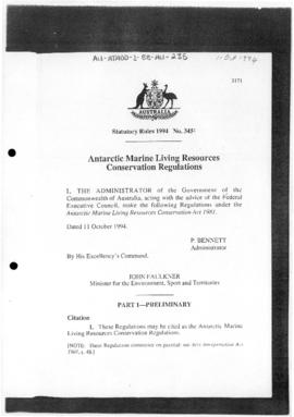Antarctic Marine Living Resources Conservation Regulations