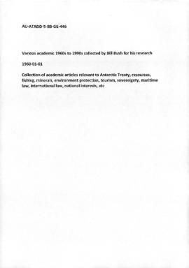 Various academic articles 1960s to 1990s collected by Bill Bush for his research
