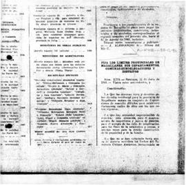 Decree no. 3773 establishing the provincial boundaries of Magallanes, its departments, communes a...