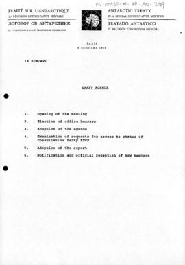 "Ninth Special Antarctic Treaty Consultative Meeting (Paris) Working Paper 1 ""Draft agenda&qu..."
