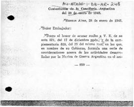 Argentine note to the United Kingdom rejecting British protests at the establishment of Argentine stations on Gamma and Deception Islands and declining to submit the dispute to the International Court of Justice