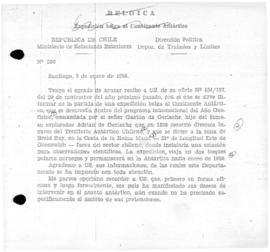 Chilean note to Brussels concerning Belgian interest in Antarctica