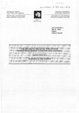 "Nineteenth Antarctic Treaty Consultative Meeting (Seoul) Working paper 7 ""The Antarctic prot..."