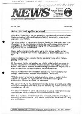 "Australian Antarctic Division ""Antarctic fuel spill contained"""