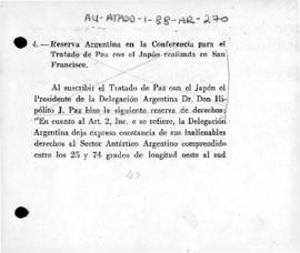 Argentine reservation to the Treaty of Peace with Japan