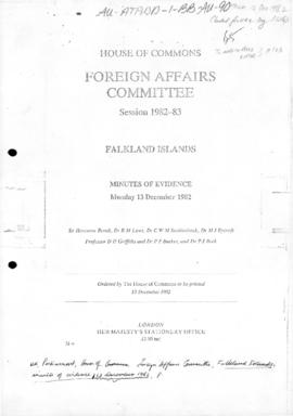 "UK Parliament, House of Commons, Foreign Affairs Committee, ""Falkland Islands"" minutes of evidence"