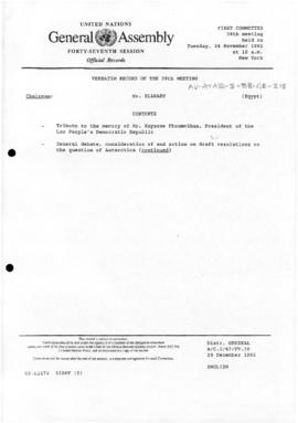 "United Nations General Assembly, Forty-Seventh session ""Verbatim record of the 39th meeting of the First Committee: General debate, consideration of and action on draft resolution on the Question of Antarctica"" (A/C.1/47/PV.39)"